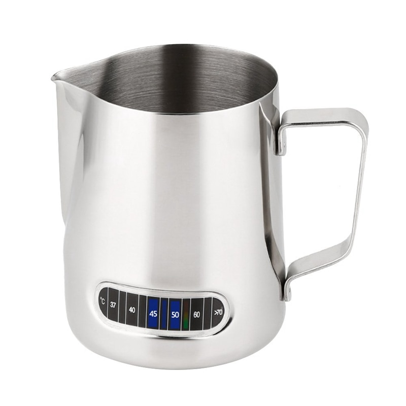 Jarra de espuma de leche con termómetro de acero inoxidable 600 ml, jarra de espuma de café, taza de leche de cocina casera