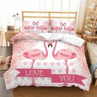 HD Cartoon Flamingo Print Bedding Set Twin size Girl Duvet Cover with Pillow Case Queen size Bedding Home Textiles Bedclothes