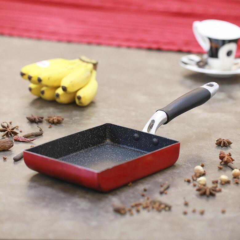 Sartén para freír de Tamagoyaki de aleación de aluminio japonesa, sartén antiadherente para freír huevos, recipiente de panqueque, utensilios de cocina de 13x18cm