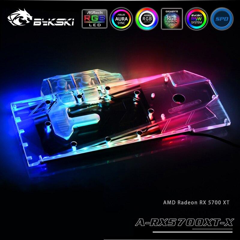 Bykski Wasser Block verwenden für AMD Radeon RX 5700/5700XT GPU Karte/Volle Abdeckung Kupfer Kühler Block/ 3PIN 5V A-RGB/4PIN 12V RGB