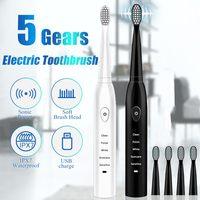 Зубная щетка электрическая ультразвуковая моющаяся, водонепроницаемая, для отбеливания и чистки зубов, сменная насадка