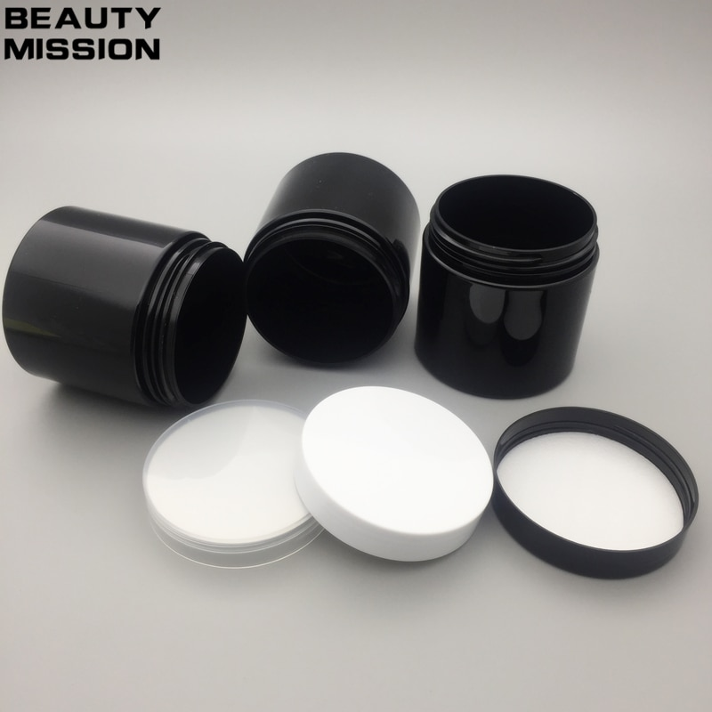 20x200 ML Preto Vazio Frascos de PET com preto branco Tampas de Rosca de Plástico transparente, Embalagem de 200g de creme frasco de Sal de Banho de mel jar