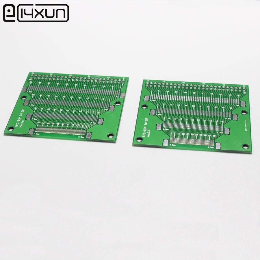 1 pçs/lote 50 P FFC FPC Placa Adaptadora 0.5 MM 0.6 0.7 0.8 0.9 1.0 1.1 1.2 MM Pitch Cabo 50Pin Plano Soquete Conector para PCB placa