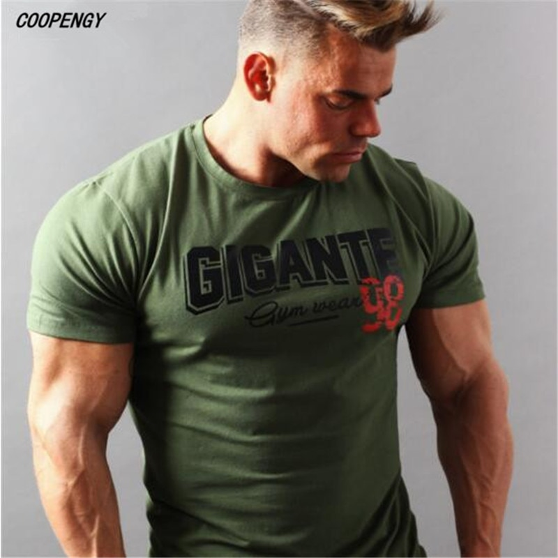 SummerBrand Herren muskel T shirt bodybuilding fitness männer tops baumwolle singuletts Plus Große größe T-shirt gasp Kurzarm T-shirt