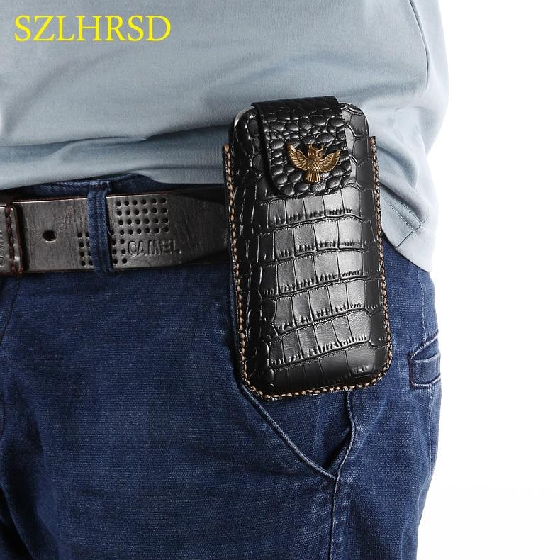 SZLHRSD para HomTom C2 HT26 HT30 HT37 HT50 S16 Funda hecha a mano de cuero genuino, Funda con Clip para cinturón, Funda para teléfono, riñonera