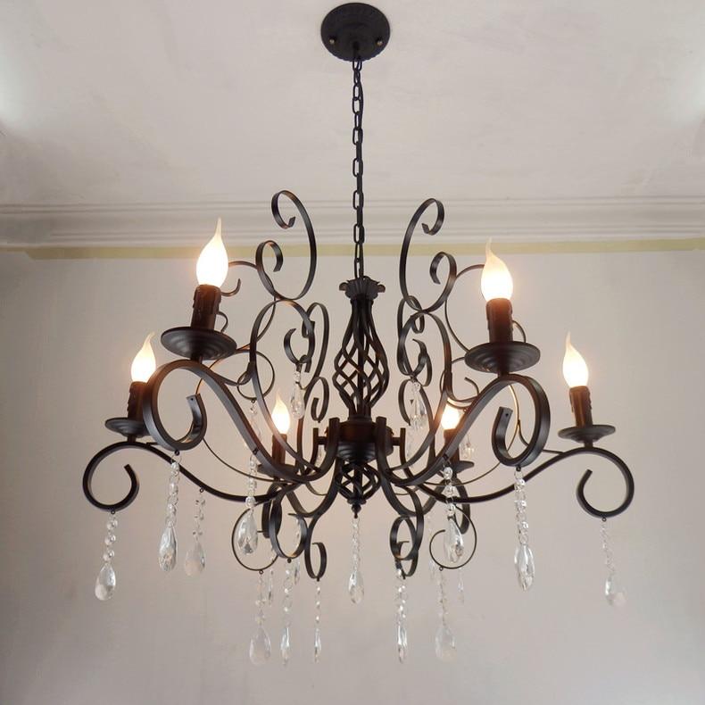 Vela de ferro luzes cristal múltipla lustre americano minimalista sala estar lâmpadas iluminação forjado quarto za