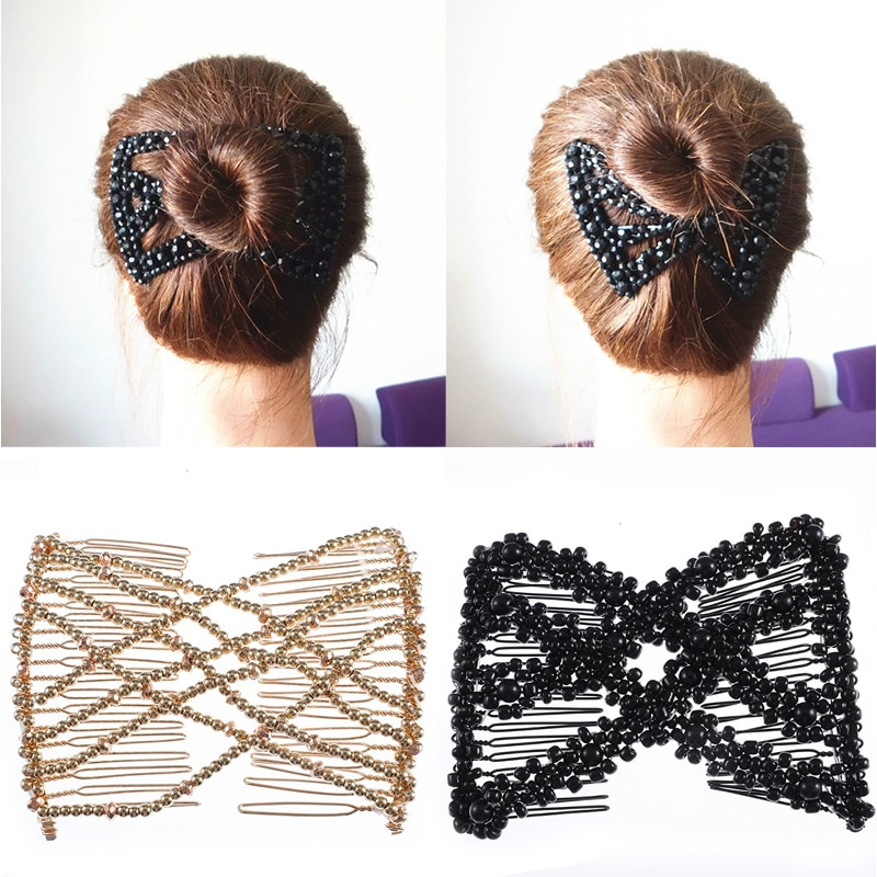 MISM Women DIY Hair Comb High Elasticity Hair Accessories Double Magic Slide Metal Vintage Pearl Magic Bun Make Hair Style Girls