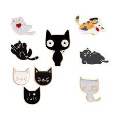 Bonito dos desenhos animados broche preto branco gato emblema mulheres homens casal denim camisa lapela botão pino dos desenhos animados animais pinos jóias presente para o miúdo