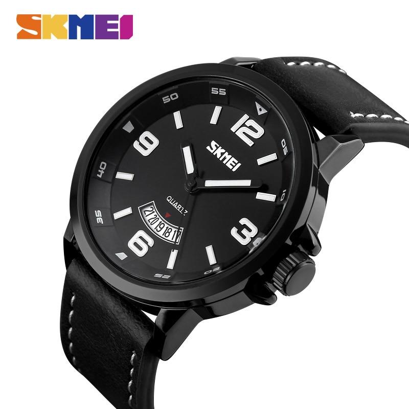 Moda dos Homens Relógios de Pulso de Quartzo à Prova Pulseira de Couro dos Homens de Luxo da Marca Skmei Superior Relógio Masculino 9115 D3água 3bar