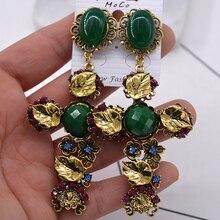 Vintage hueco de oro fuera hojas colgante de Cruz pendientes joyería para mujeres accesorio Brincos declaración barroco bohemio gota pendiente