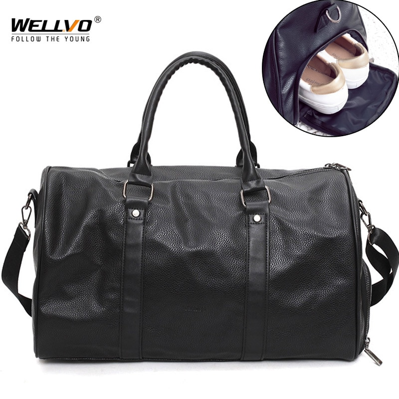 Bolso de viaje de cuero negro para hombre, bolso redondo grande de lona, bolso de gimnasio para mujer y hombre, bolsos de hombro para zapatos, bolsos de bolsillo XA96WC