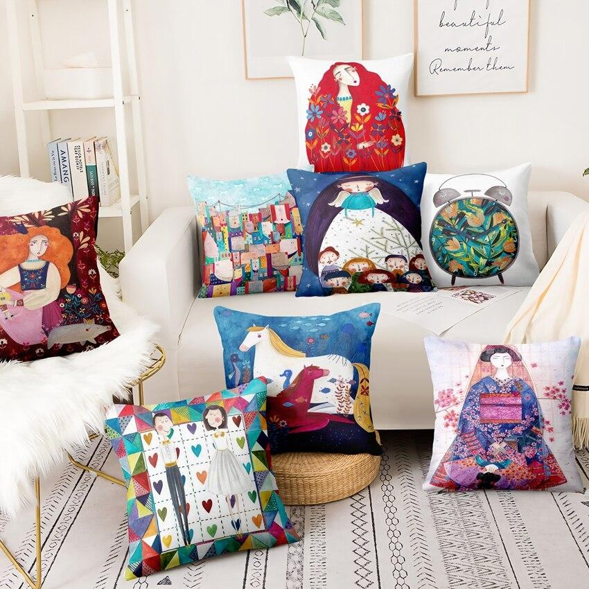 Ilustración acuarela impreso cojín almohada decorativa exótico chica almohada de decoración del hogar decorativas almofadas Para sofá