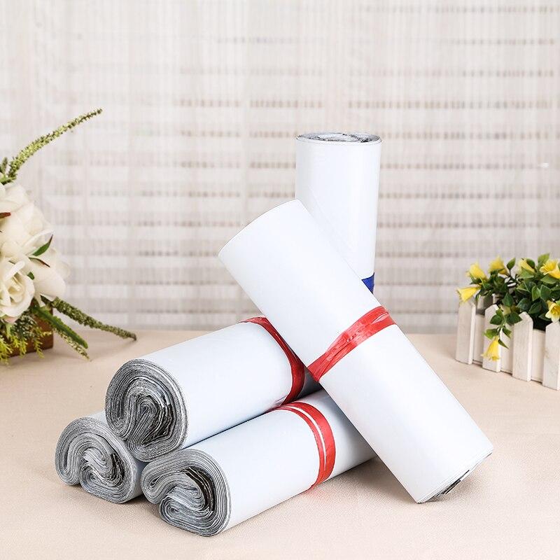 20*26 + 4 cm, 50 Uds./bolsas autoadhesivas blancas de correo autoselladas bolsas de almacenamiento bolsas de plástico de polietileno Envío de bolsas de correo Postal
