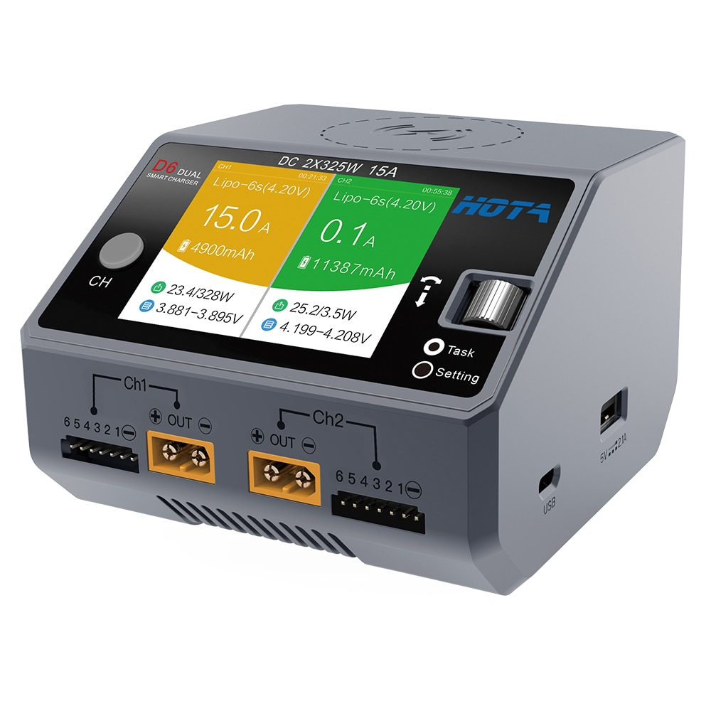Promo HOTA D6 Dual Smart Charger AC200W DC650W 15A for Lipo LiIon NiMH Battery with iPhone Samsung Wireless Charging