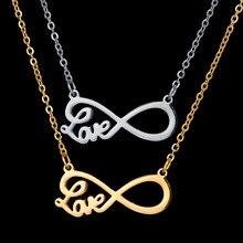 Nouvelle mode en acier inoxydable Bijoux Amant infini amour collier or couleur chaîne tour de cou pendentif collier