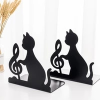 1 pair creative metal cat bookends book holder black decorative desk art book stand support home office book stopper organizers
