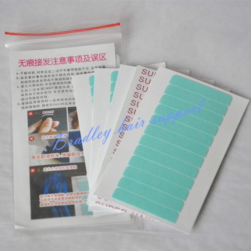 60 unids/bolsa 0,8*4 cm cinta adhesiva fuerte de extensión lateral para extensión de cinta/tupé