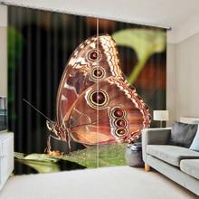 3D de impresión de gran mariposa ventana cortinas de cama decorativa SALA DE Backout Oficina cubierta cortina de tamaño personalizado