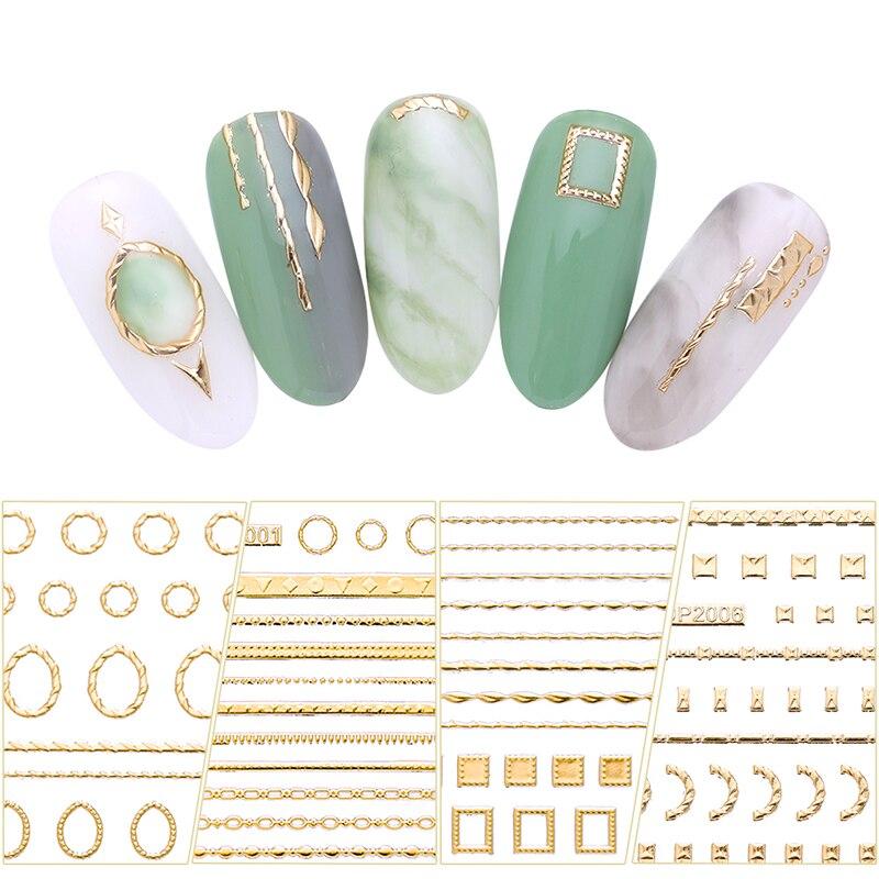 11.5*6cm or 3D ongles autocollants lignes bande géométrique coeur auto-adhésif bricolage transfert autocollant Nail Art décorations