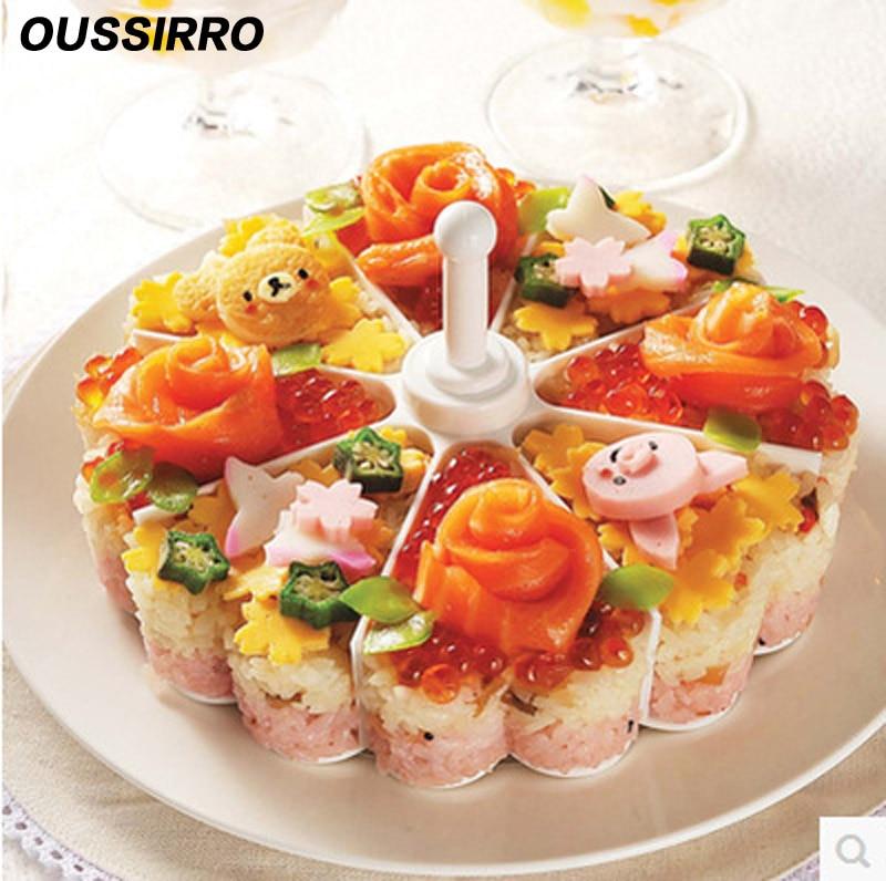 Creativo molde japonés para tarta de Melaleuca, plato para Sushi, conjunto de bandejas, gelatina o pudin, molde para Dumpling de arroz