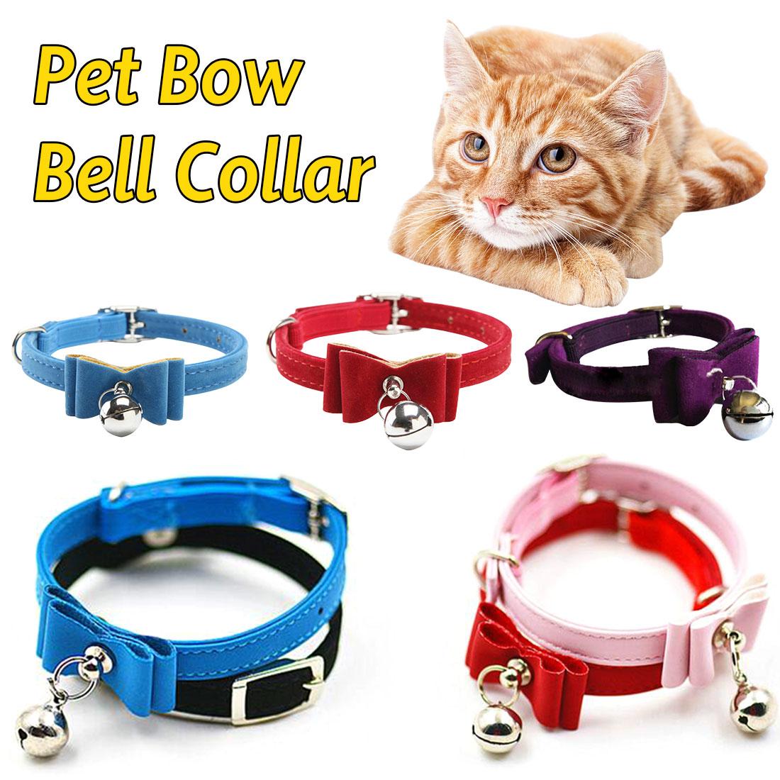 Collares de pajarita con cascabeles para gatos, Collar elástico ajustable seguro para gatos y gatos, 5 productos de colores para mascotas, proveedor de collares para perros