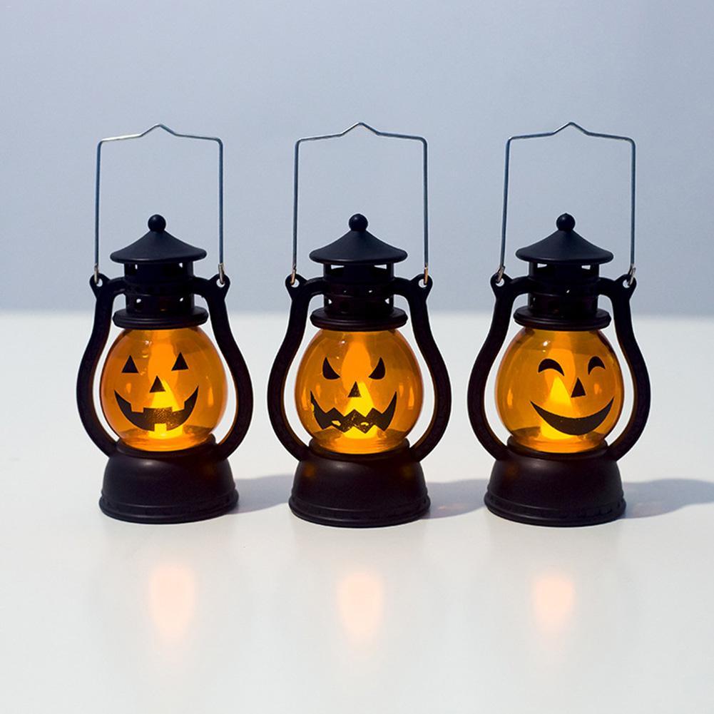 Śliczne Mini lampion w kształcie dyni Halloween Party lampion w kształcie dyni lampa naftowa wiatr światło olśniewające zabawki domu Bar Halloween dekoracji