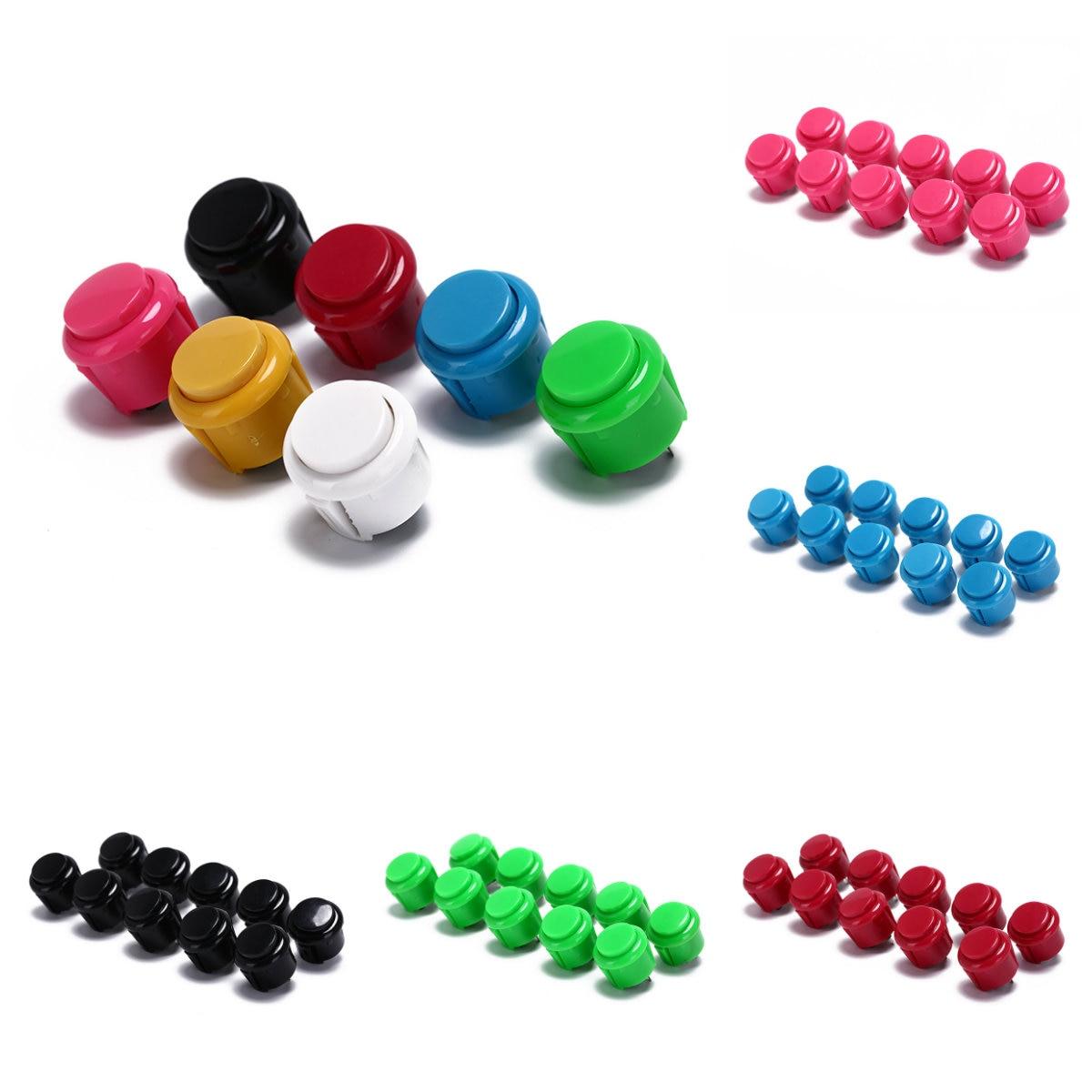 10 Uds. Botón de Arcade de 24mm botón redondo Micro interruptor pequeño integrado para DIY controlador de Arcade Jamma Mame precio de fábrica