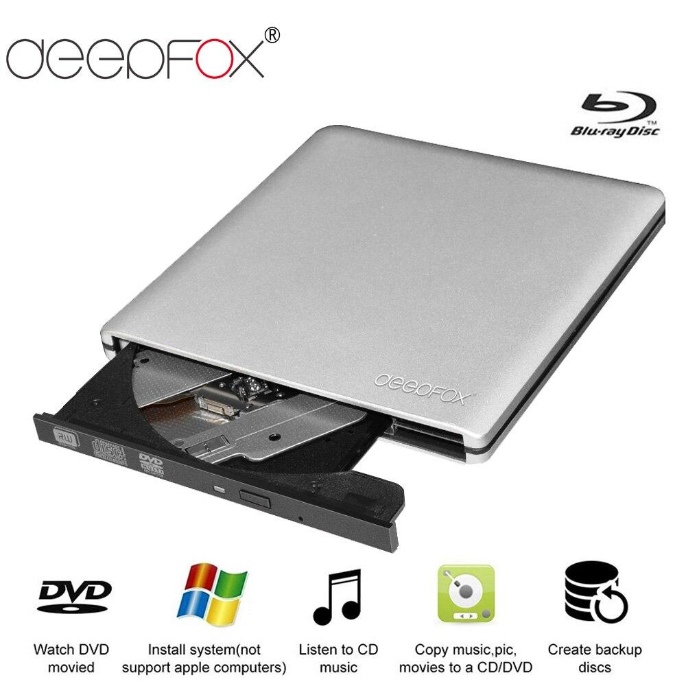 Deepfox אלומיניום Blu-Ray כונן Slim USB 3.0 Bluray מבער BD-RE CD/DVD RW לשחק 3D 4 K Blu-ray דיסק עבור מחשב נייד מחברת