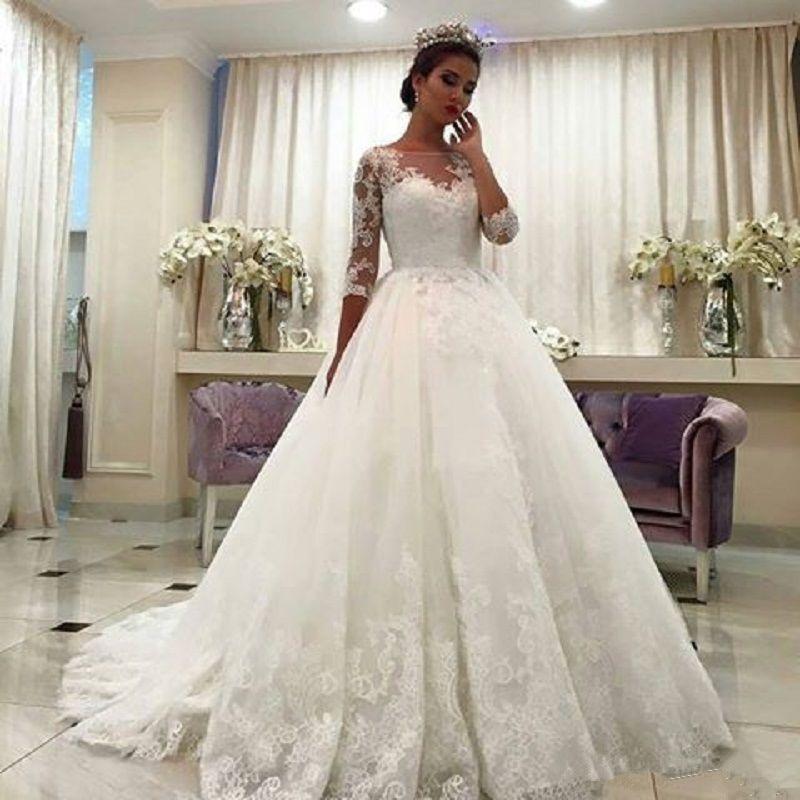 Vestido De Novia blanco De encaje A la moda, Sexy, De media...