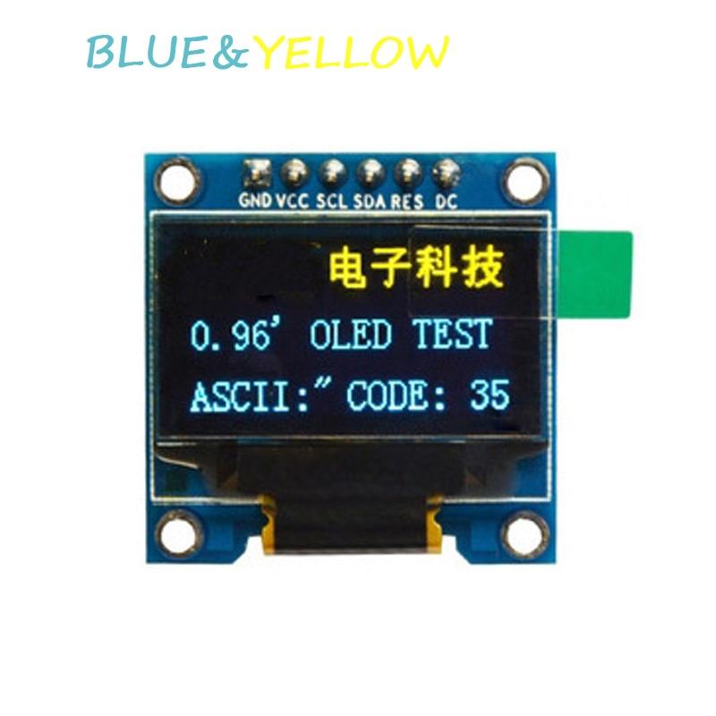"0,96 ""Módulo de pantalla oled azul y amarillo 12864 pantalla LED interfaz SPI IIC para arduino STM32 51 sd1306 controlador nueva pantalla OLED DIY"
