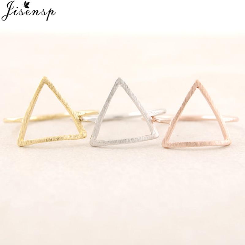Jisensp Punk anillos triangulares cepillados para mujeres Simple anillo geométrico boda Bague Femme joyería de moda niñas fiesta regalos