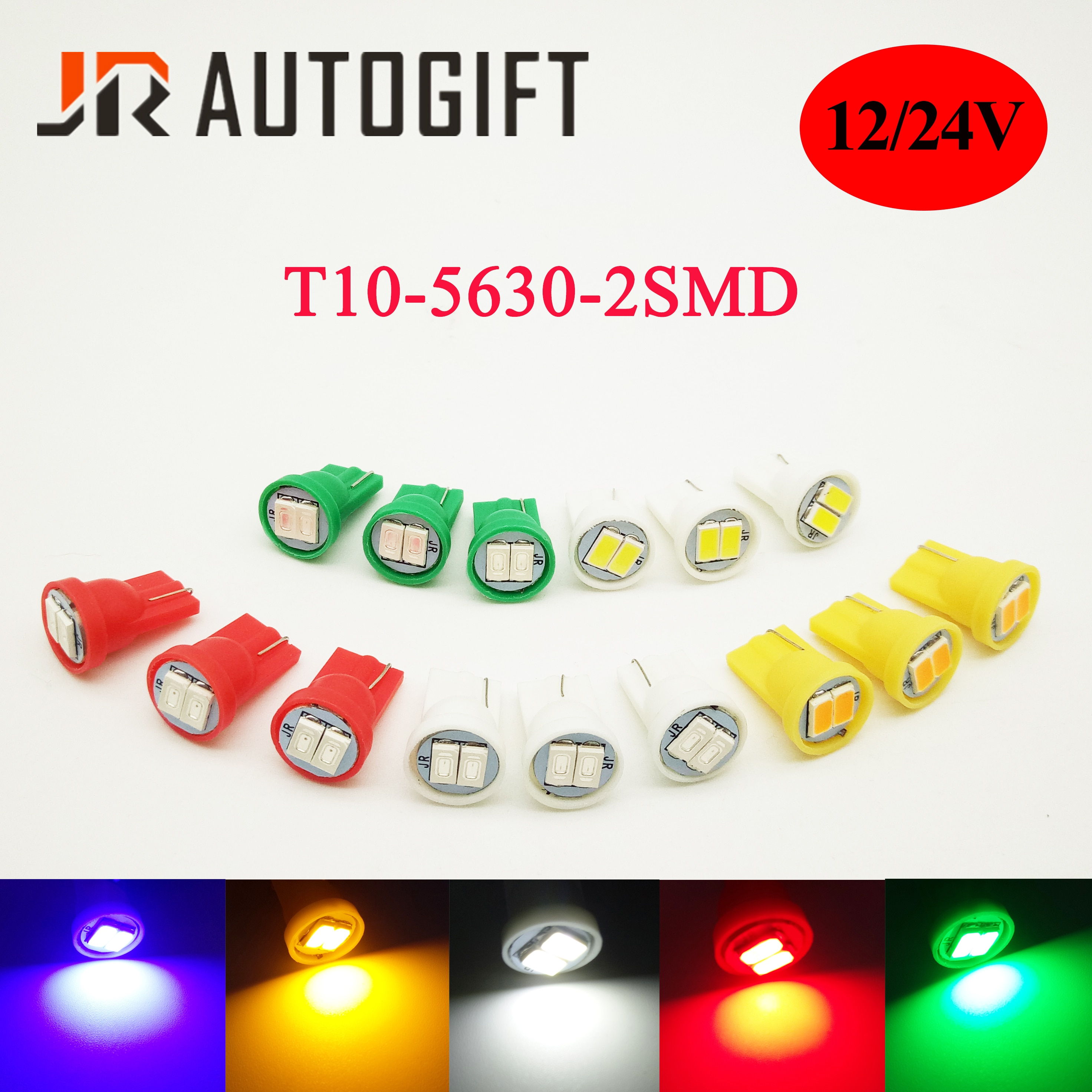 Luces LED de coche T10 194 W5W 2 SMD 5630 de 10 Uds., bombilla LED roja/amarilla/Verde/Azul 12/24V, luces LED laterales para estacionar