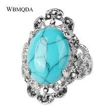 Luxus Ethnische Red Blau Stein Kristall Ring Vintage Große Hochzeit Ringe Für Frauen Aussage Mode Böhmischen Türkischen Schmuck