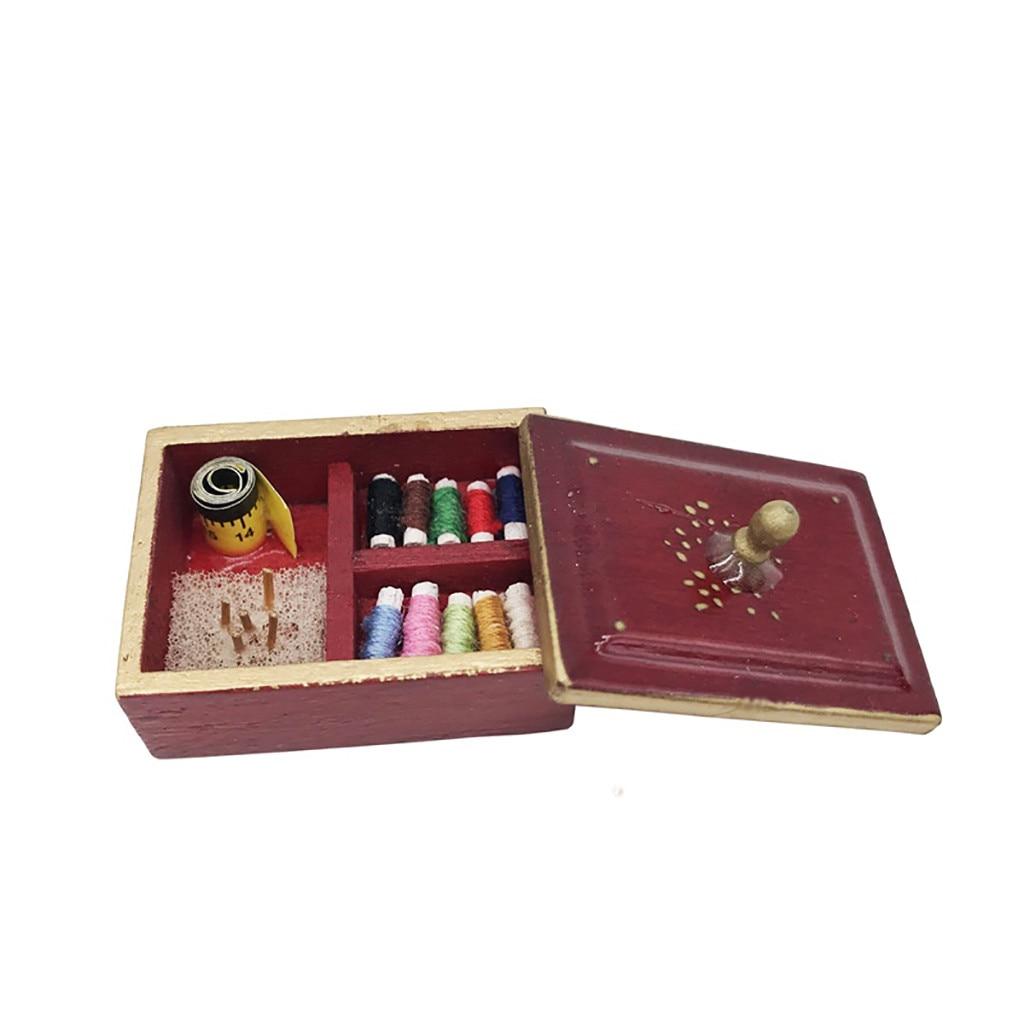 112 simulación de casa de muñecas en miniatura kit de costura suministros de costura caja para agujas herramientas accesorio DIY para muñecas Decoración de casa juguete A514
