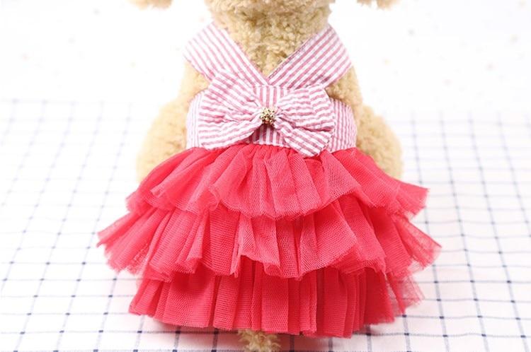 Pet Dog Clothes Small Dog Wedding Dress Stripe Lace Dress Cute Chihuahua Pets Supplies