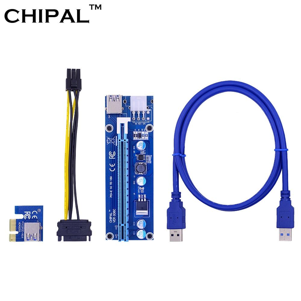 CHIPAL 10 Uds VER006C 100cm PCI-E tarjeta elevadora 006C PCI Express 1X 16X Cable USB3.0 Cable de alimentación 6Pin a 15Pin para minería BTC