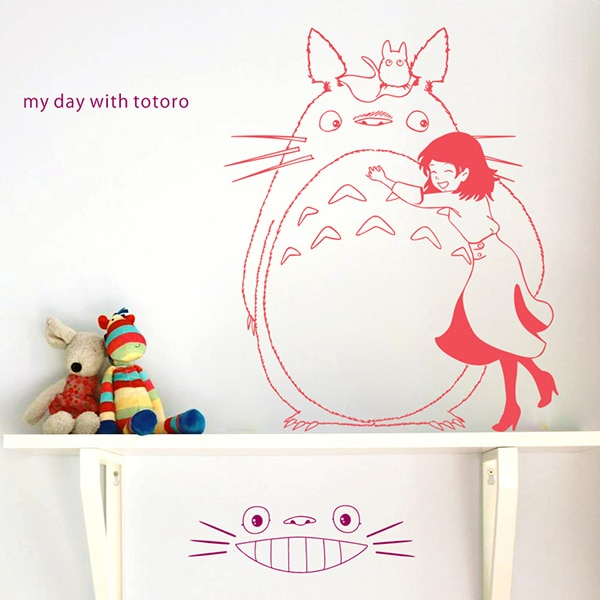 Hayao miyazaki totoro papel de parede vara parede DongManTie sala de crianças etiqueta de papel dia interior