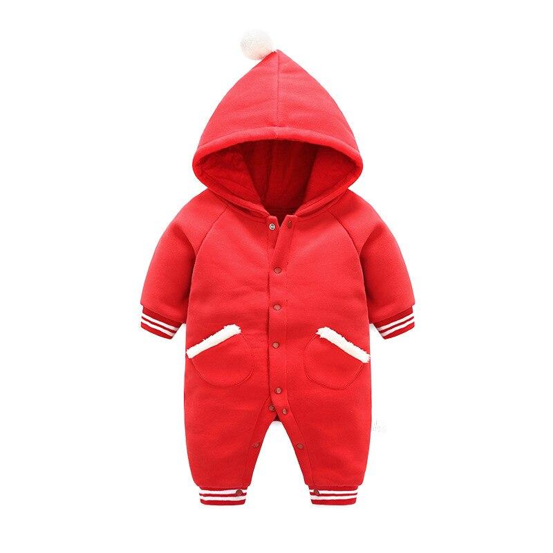 Хлопок теплый Детский комбинезон с капюшоном зимние мягкие для новорожденных