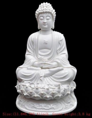 Estatua de Buda shakyamuni de porcelana blanca Dehua de 30 cm */elaborado chino