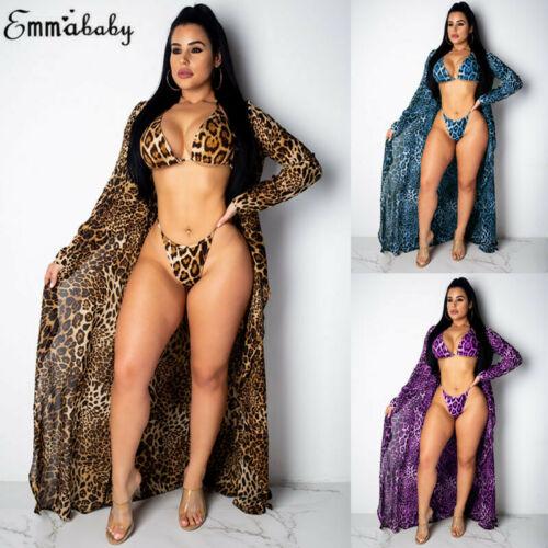 2019 New Hot Sexy Fashion Bra Girls Female Lady Leopard Bikini Set+Beach Cover Ups 3 Piece Swimsuit Summer Swimwear