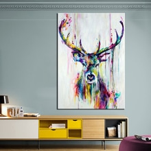 QKART peinture animale cerf coloré toile mur photos pour salon bureau chambre moderne toile peinture à lhuile affiches