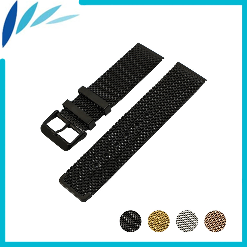 Stainless Steel Watch Band 20mm 22mm for Ticwatch 1 2 42mm 46mm Pin Clasp Strap Wrist Loop Belt Bracelet Black Silver + Tool