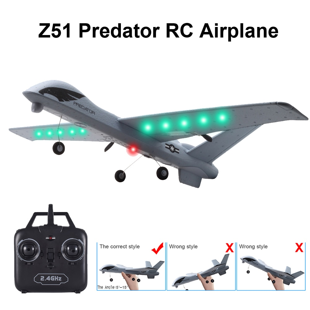 RC Airplane Plane Z51 20 Minutes Flight Time Glider 2.4G Flying Model with LED Hand Throwing Wingspa