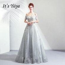 Cest YiiYa robe de soirée fleurs broderie gris robe de fête brillant paillettes perles perles perles col bateau mariage robes formelles E196