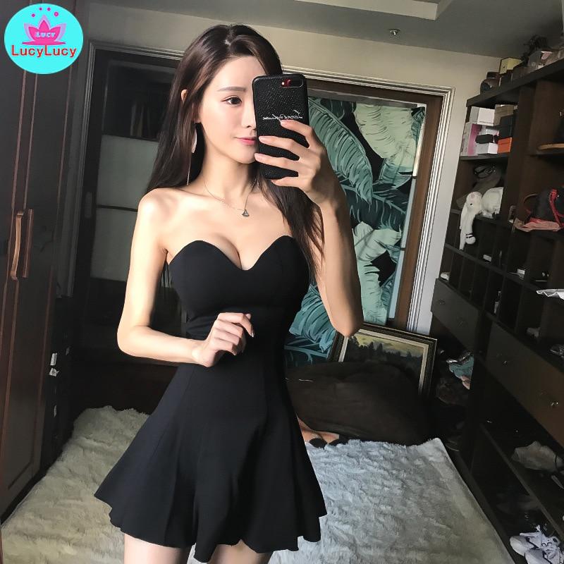 2019 Korean version of the ladies tube top sexy slim night club bar KTV tube top princess dress Zippers  Strapless
