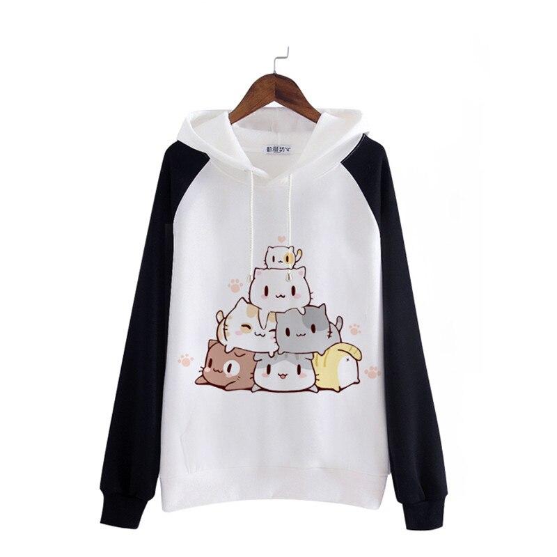 اليابانية Kawaii الكرتون القطن الصوف هوديس للنساء مضحك أنيمي القط طباعة طويلة الأكمام في سن المراهقة الفتيات البلوز قمم مع جيب