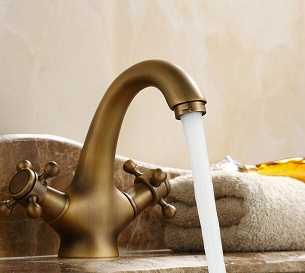 حنفيات نحاسية عتيقة ذات جودة عالية لحوض الحمام ، صنبور بمقبض مزدوج ، خلاط رافعة AF1036 ، بالجملة