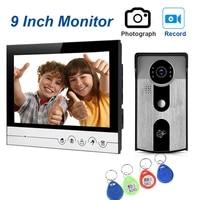 9 inch video doorphone intercom system with recording and waterproof digital doorbell camera viewer ir night vision