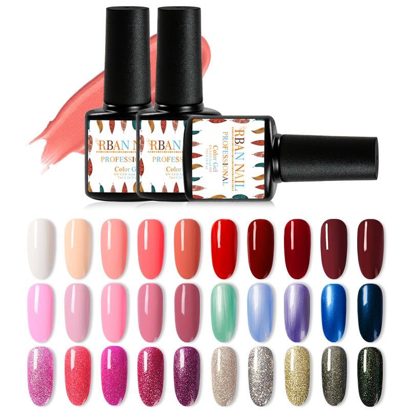 RBAN NAIL 296 Colors Nail Gel Polish UV LED  Nail Varnish Hybrid Semi Permanent Gel Lacquer For Manicure Nail Art Design Tools