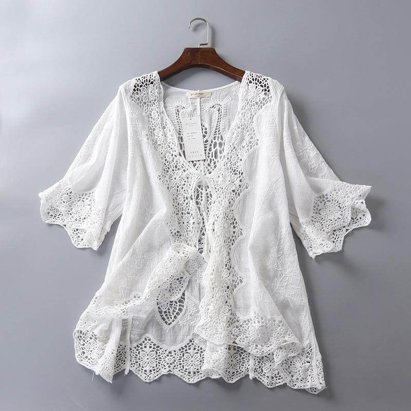 Rebeca tipo Kimono para verano, cárdigan De encaje para Mujer, blusa blanca, Top De ganchillo, bordado coreano, ropa De playa, Blusas De Moda para Mujer, Túnica 2019